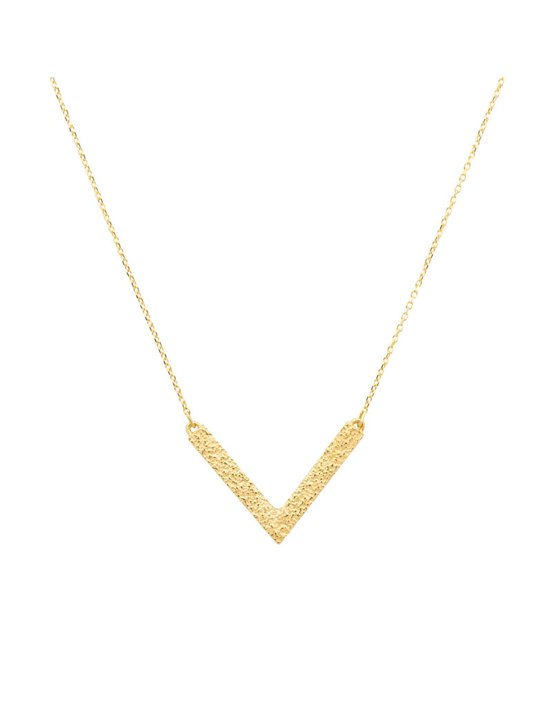 Sand V Necklace in 18k Yellow Gold