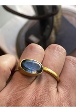 Sam Woehrmann Oval Moss Aquamarine Ring in 22k Gold & Silver