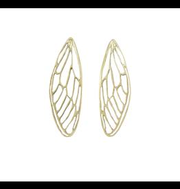 Alexis Pavlantos Bold Cicada Wing Earrings in Brass