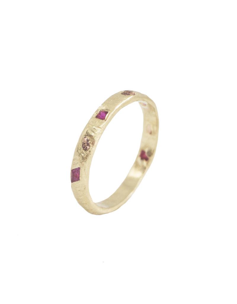 Alexis Pavlantos 3/4 Meta Ring in 14k Yellow Gold with Pink Sapphires