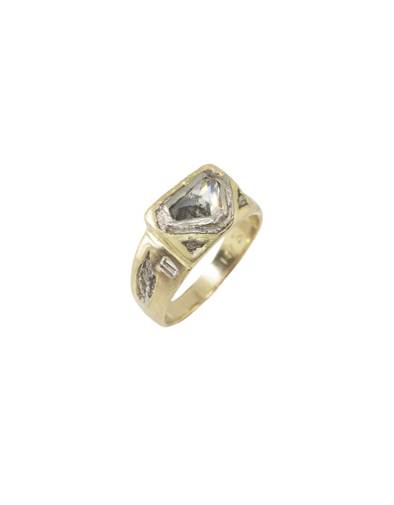 Alexis Pavlantos Bold Sedimentary Signet Ring in 14k Yellow Gold with Diamonds