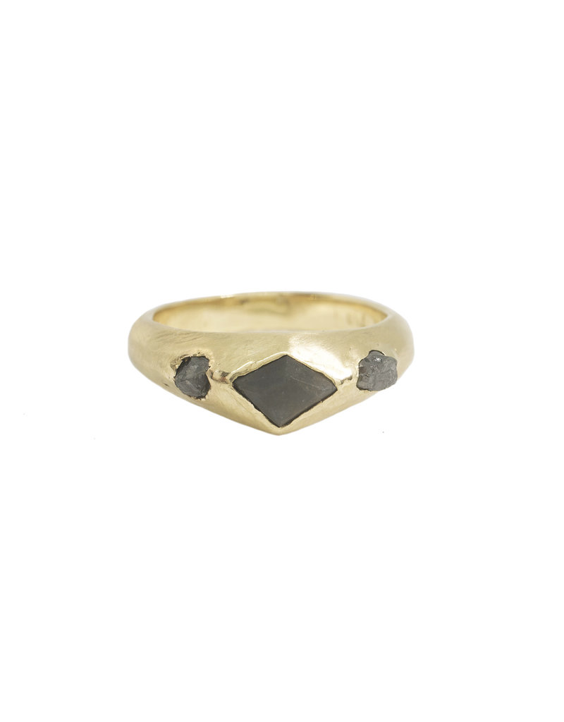 Alexis Pavlantos Breccia Byzantine Ring in 18k Yellow Gold with Alexandrite & Raw Diamonds