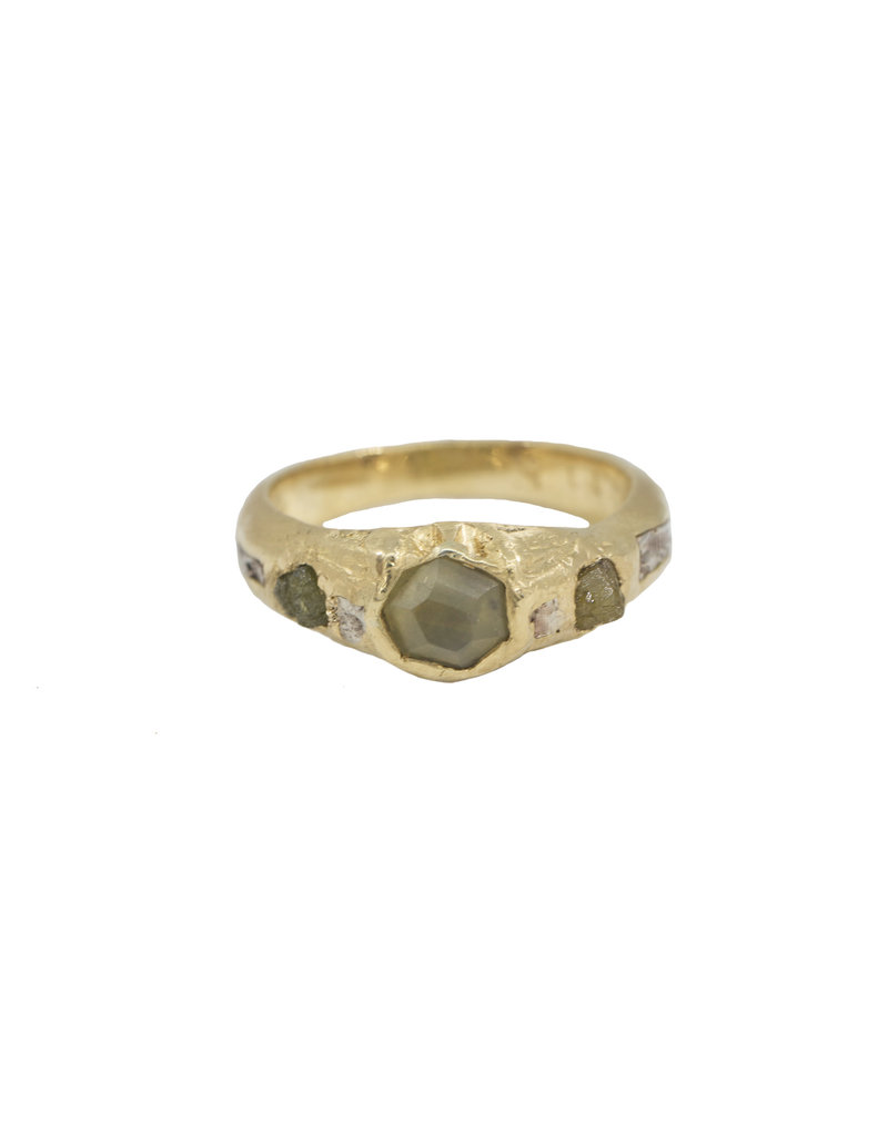Alexis Pavlantos Breccia Byzantine Ring in 18k Yellow Gold with Alexanderite & Rough Diamonds