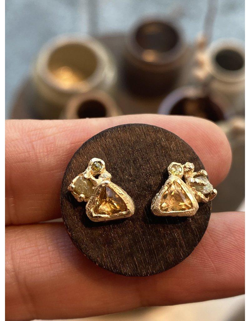 Alexis Pavlantos Citrine Post Earrings in 14k Yellow Gold with Diamonds