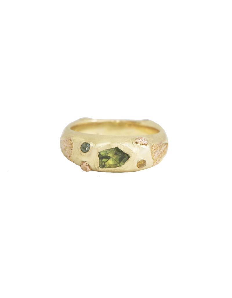 Alexis Pavlantos Dualism Ring in 14k Yellow Gold with Sapphires & Diamonds