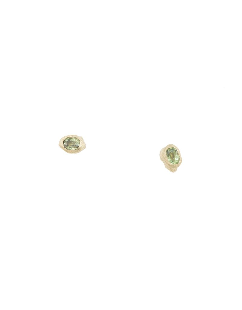 Alexis Pavlantos Petra Post Earrings in 14k Yellow Gold with Montana Sapphires