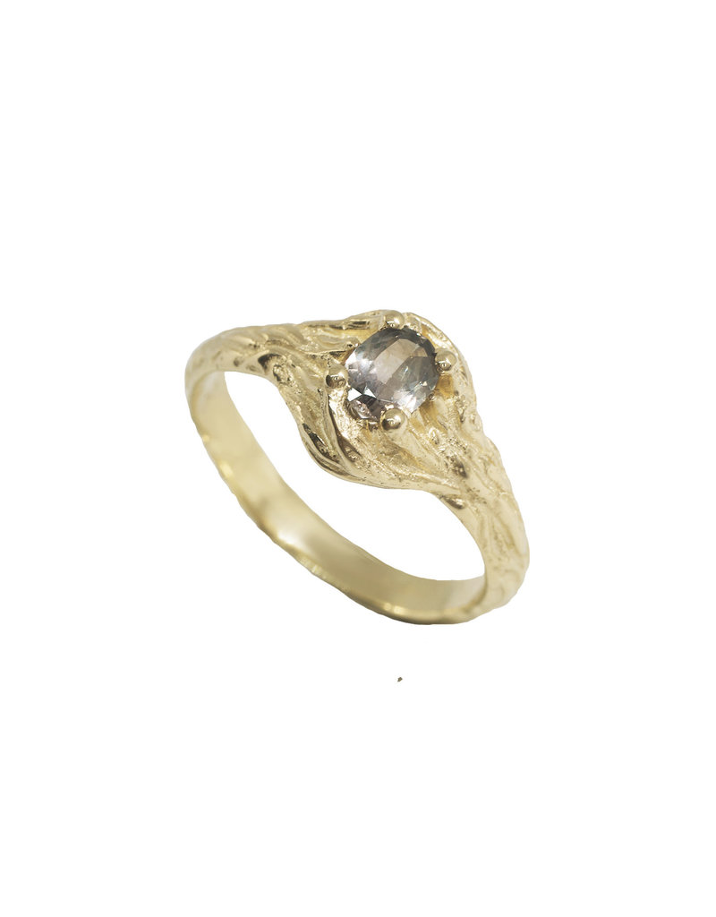 Alexis Pavlantos Sprig Ring in 14k Yellow Gold with Prong-Set Montana Sapphire