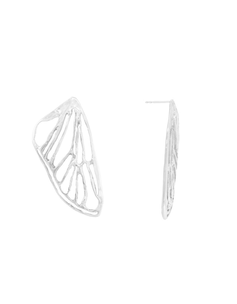 Alexis Pavlantos Petite Cicada Wing Earrings in Silver