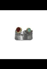 Alexis Pavlantos Adjustable Philo Wrap Ring with Carnelian & Chrysoprase in Oxidized Silver & 14k Gold