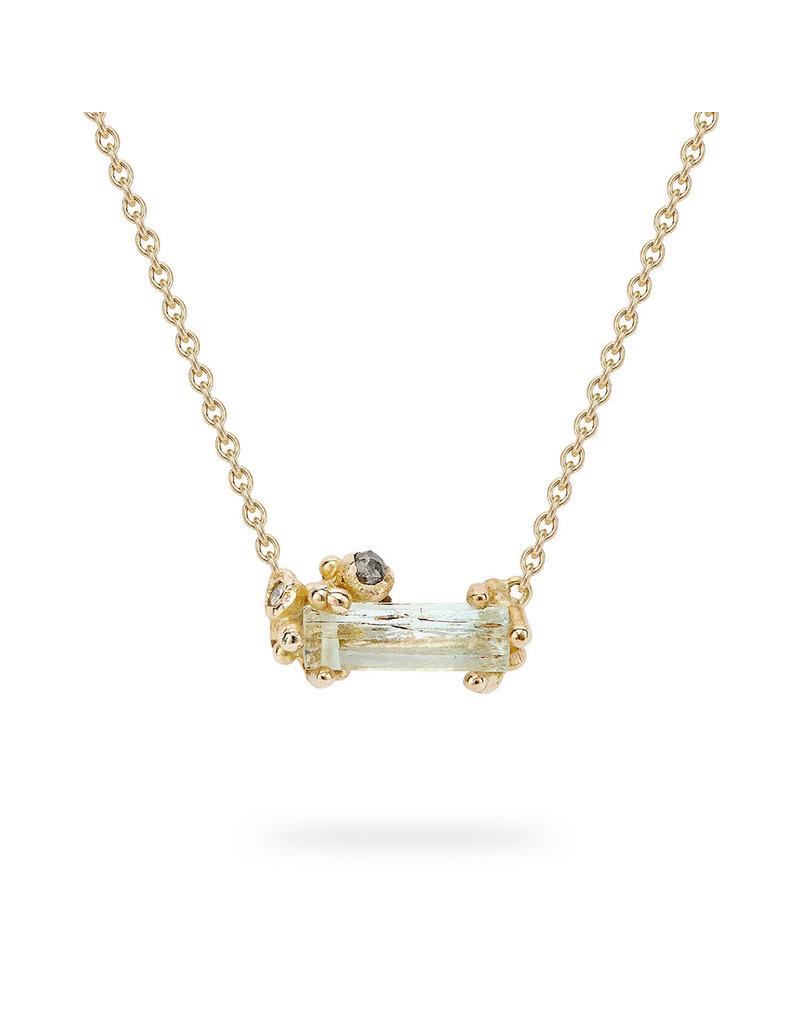 Aquamarine and Grey Diamond Pendant in 14k Yellow Gold