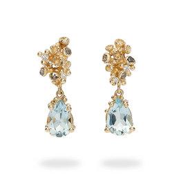 Aquamarine Drop Earrings with Grey Diamonds in 14k Yellow Gold