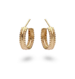 Doubled Beaded Hoop Earrings in 14k Yellow Gold