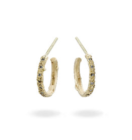 Grey Diamond Hoop Earrings in 14k Yellow Gold