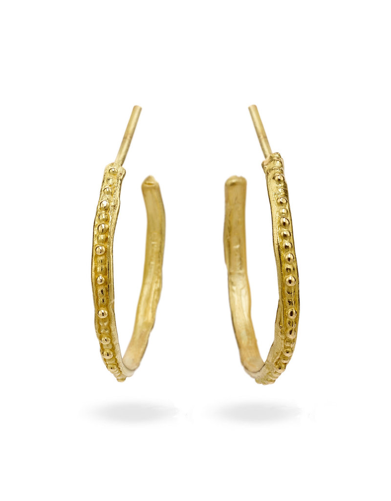 Large Single Beaded Hoop Earrings in 18k Yellow Gold