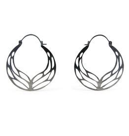Luana Coonen Medium Wing Hoop Earrings in Oxidized Silver