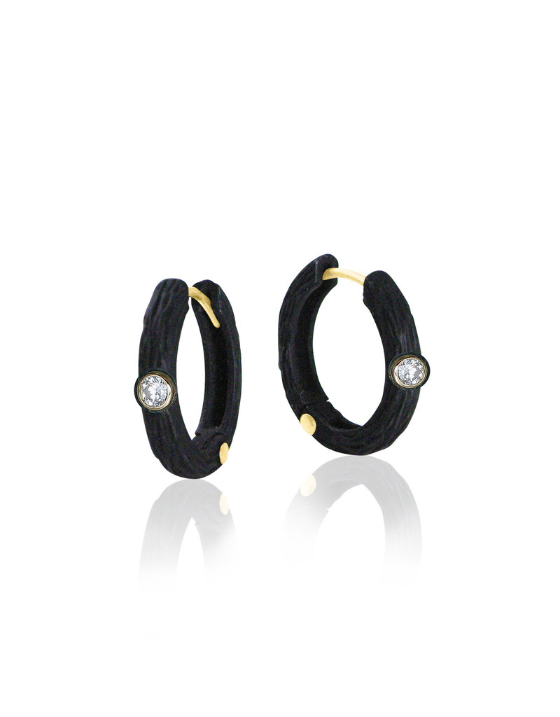Medium Pebble Hinged Hoop Earrings in Cobalt Chrome with White Diamonds