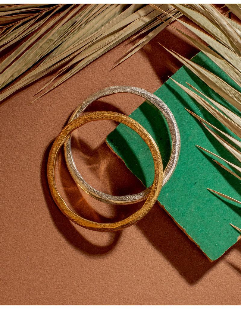 ladha by Lindsay Knox Reyes Carved Bangle Bracelet in Silver