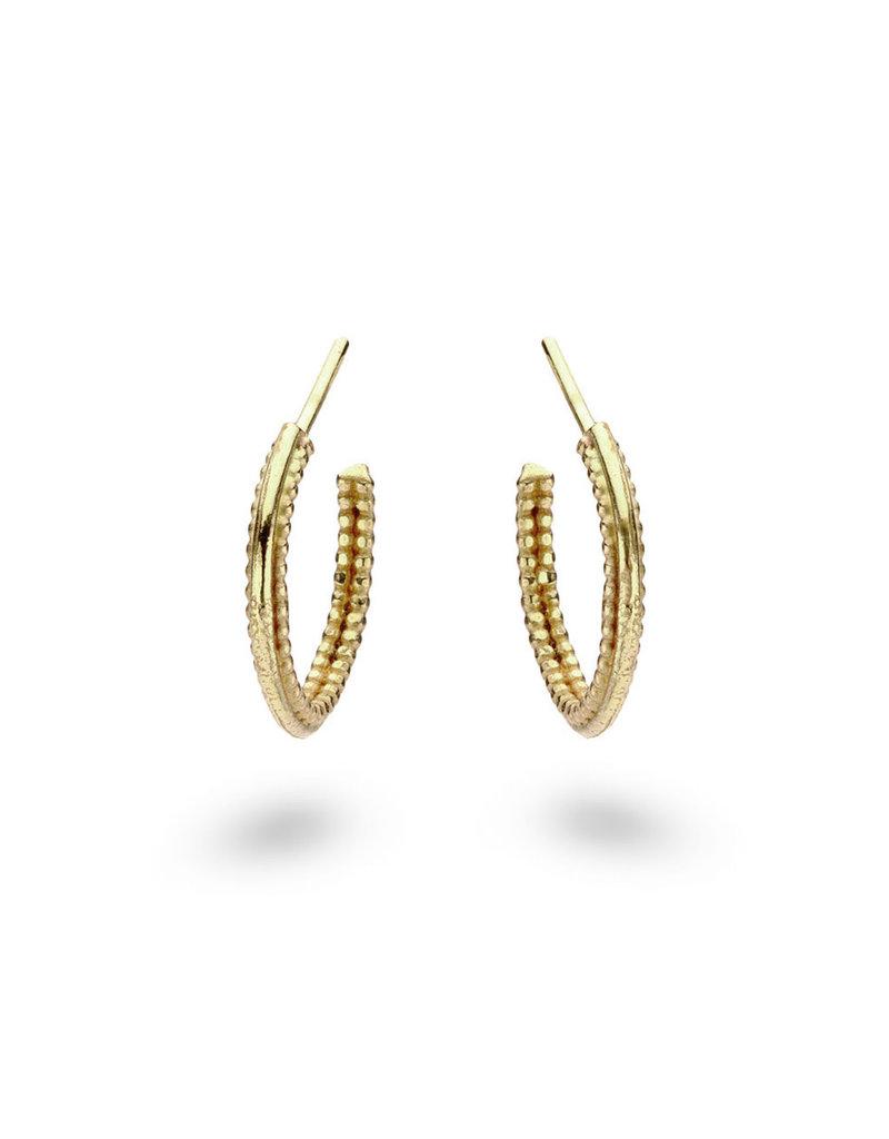 Single Beaded Hoop Earrings in 18k Yellow Gold