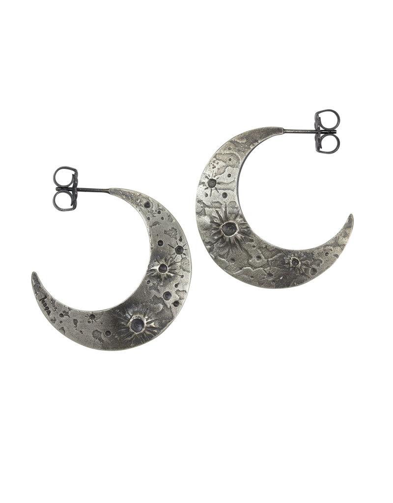 Luana Coonen Medium Mahina Hoop Post Earrings in Oxidized Silver