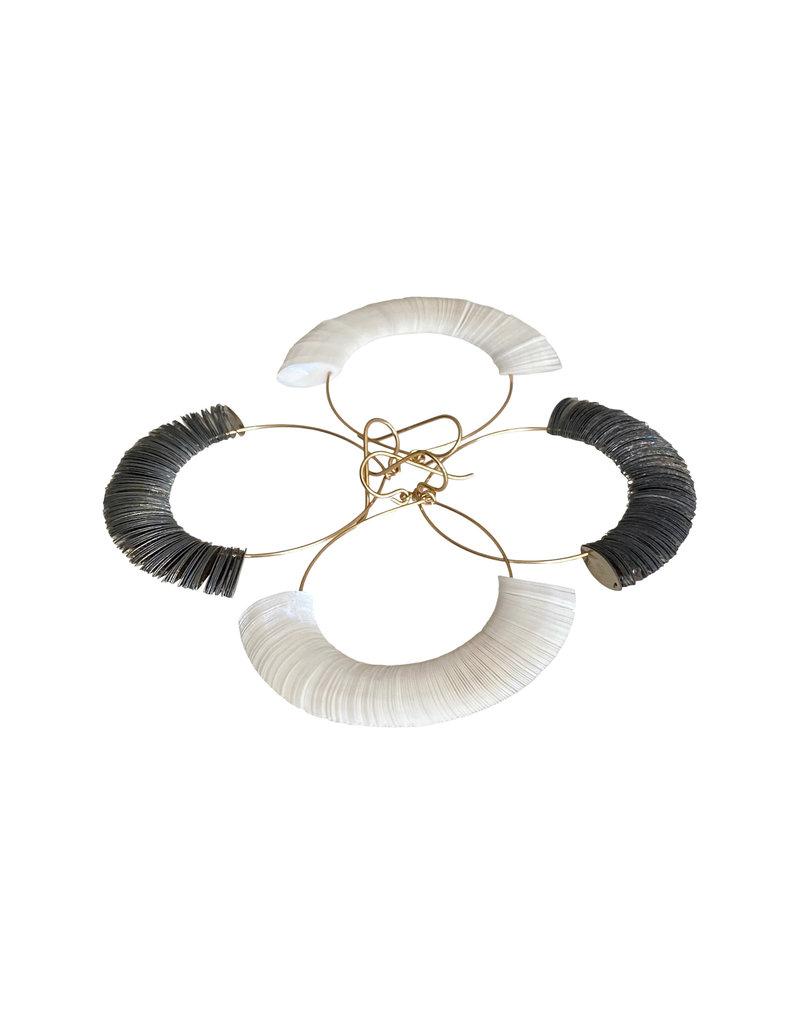 Paper White Marquise Hoop Earrings