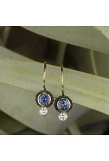 Chroma Earrings in 18k Yellow Gold with Teal Sapphires & White Diamonds