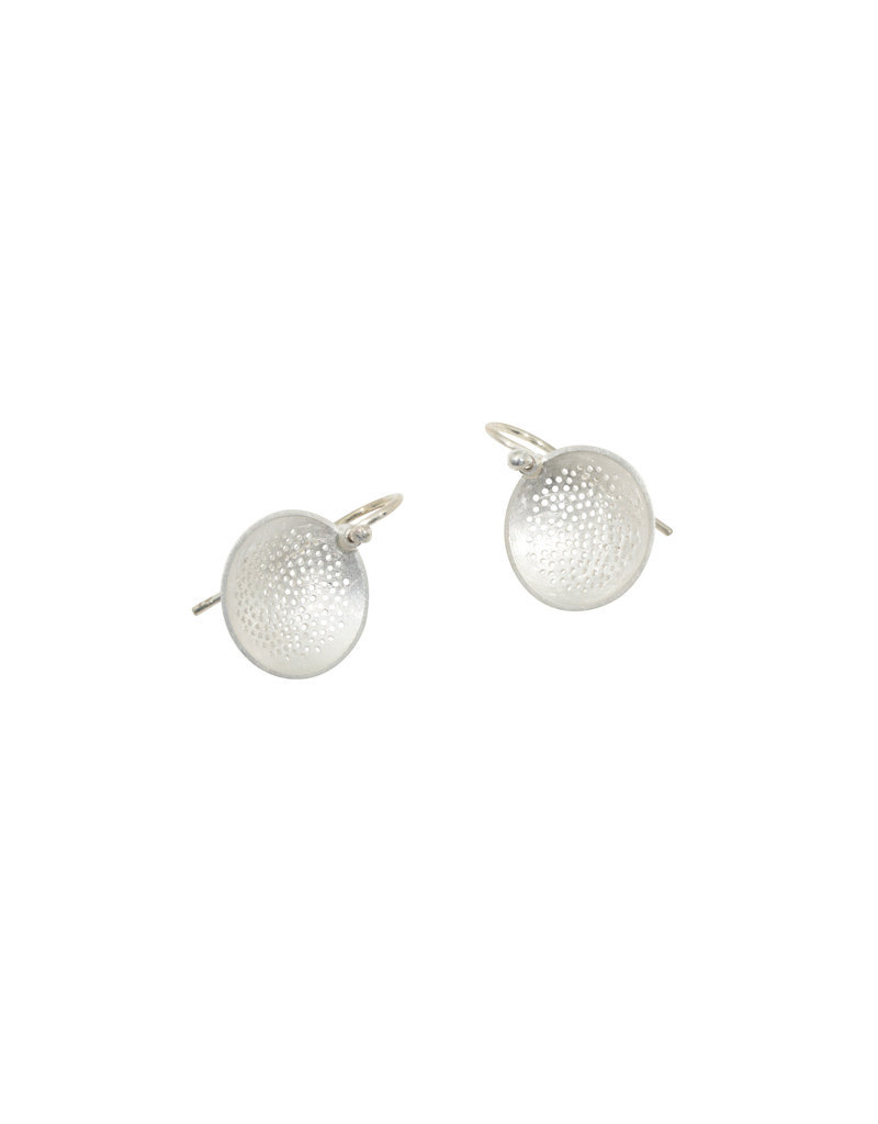 Small Perforated Dome Earrings in Silver