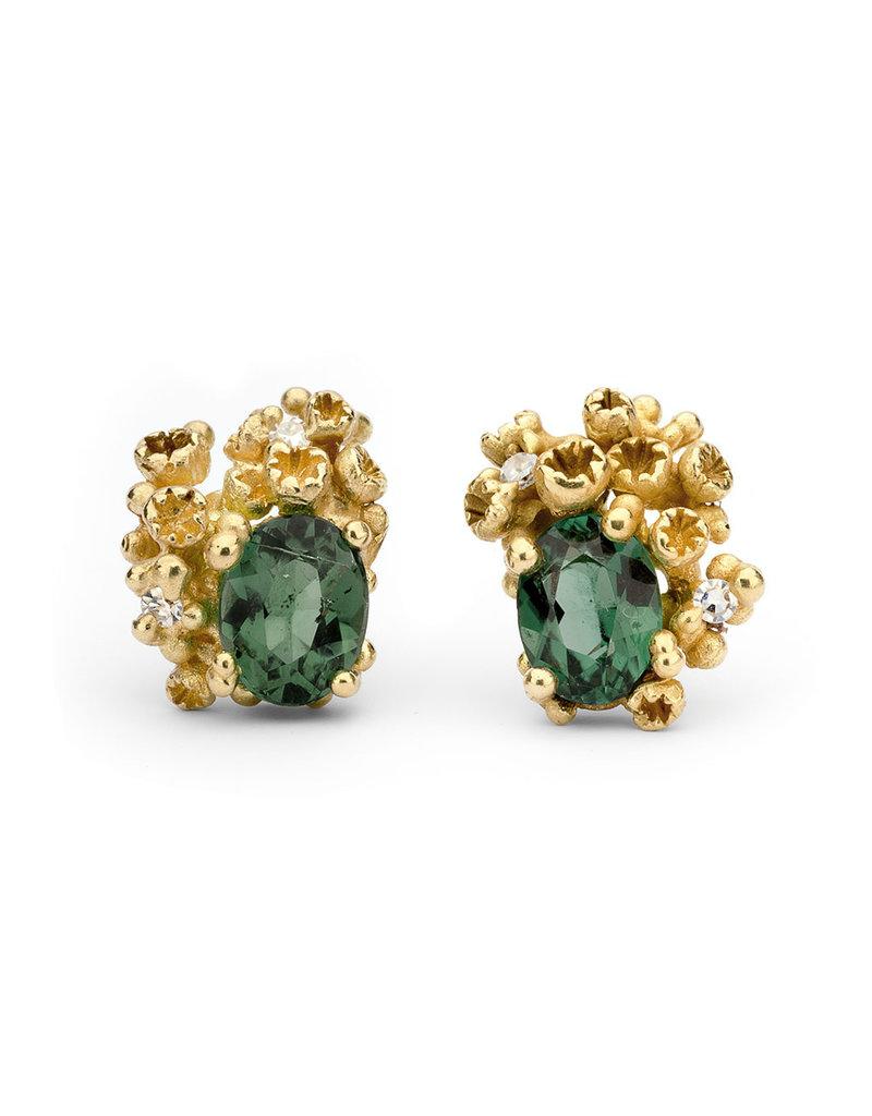 Green Tourmaline Post Earrings with Diamonds in 18k Yellow Gold