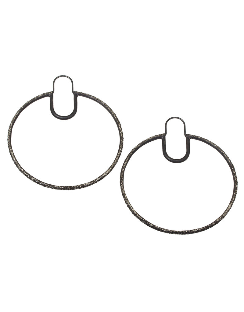 Round Sand Hoop Earrings in Oxidized Silver