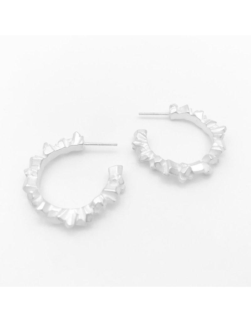 Super Fine Full Hoop Earrings in Silver