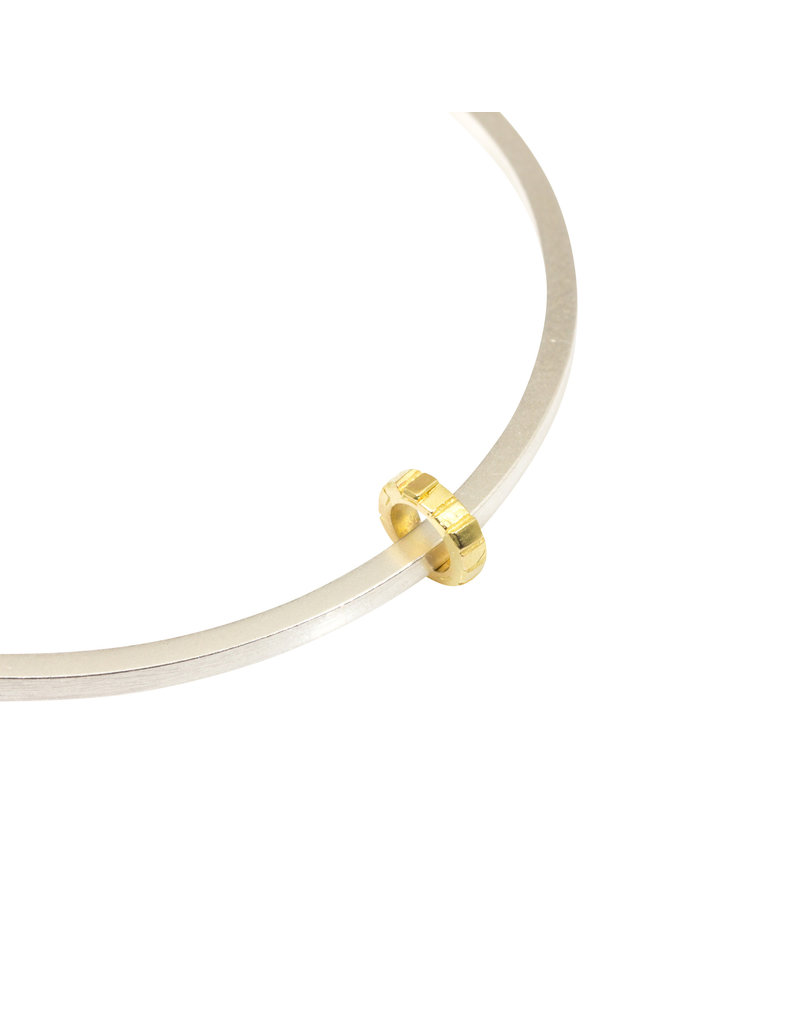 Square Bead Bangle in Silver with 18k French Gold