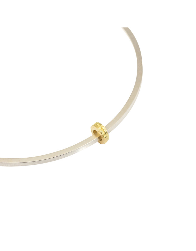 Thin Bead Bangle in Silver with 18k French Gold