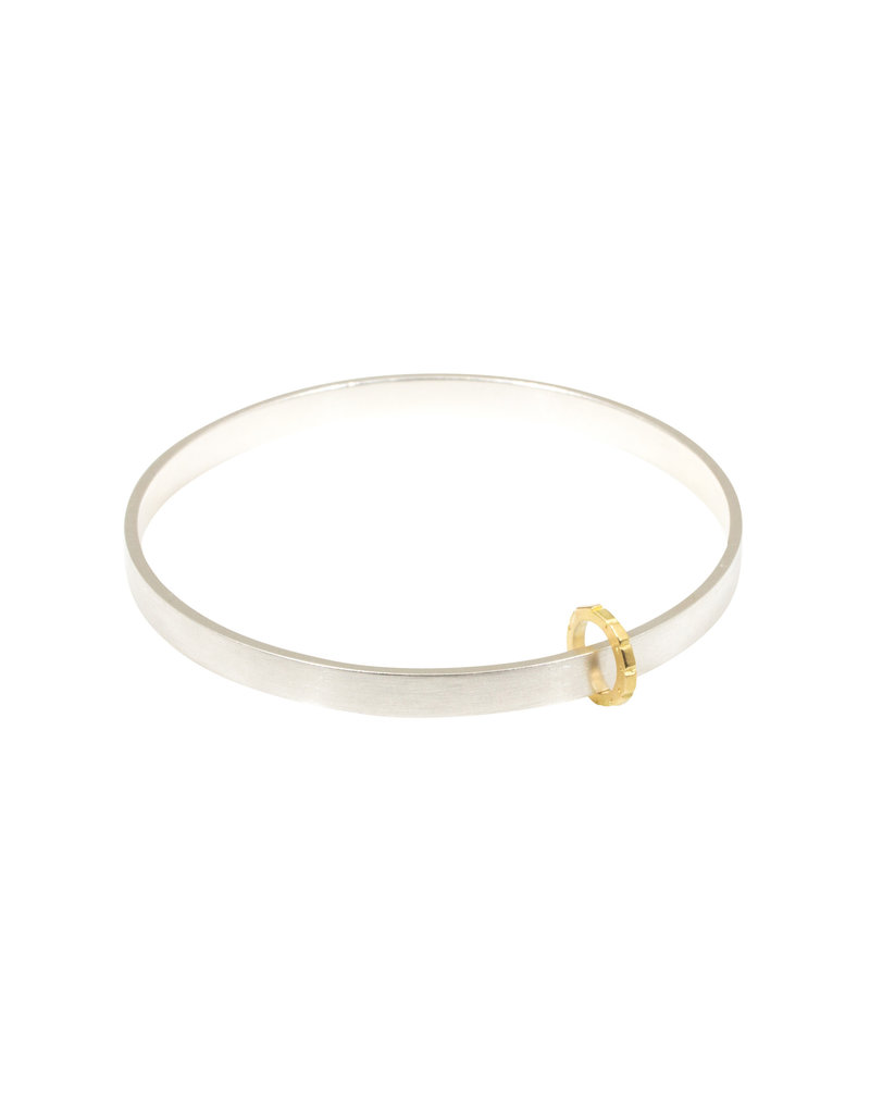 Thick Bead Bangle in Silver with 18k French Gold