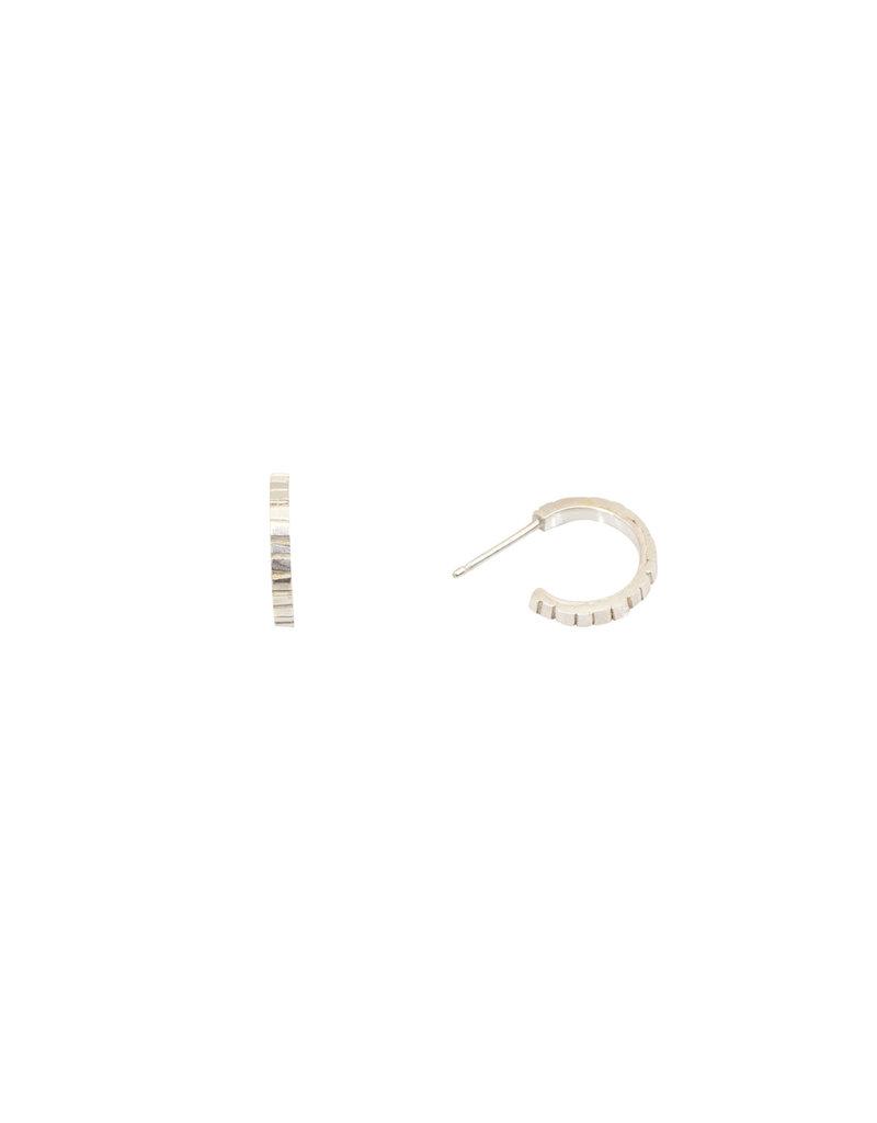 Sugar Brick Horizontal Huggie Hoop Earrings in Silver