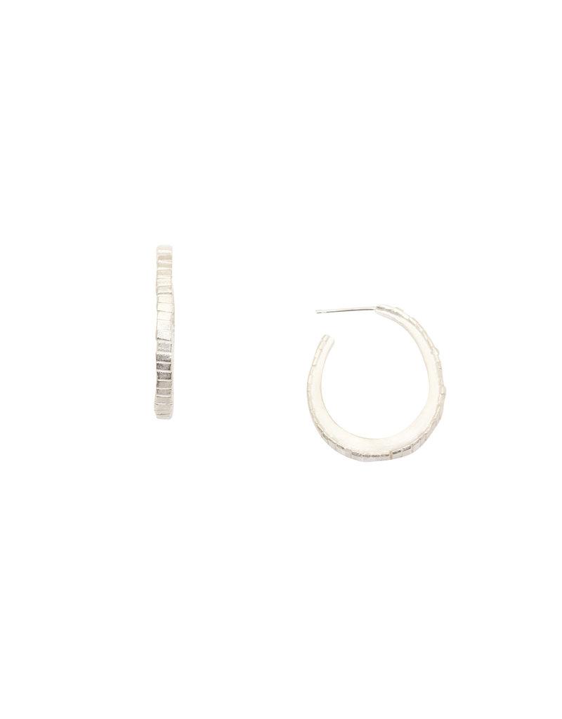 Oval Sugar Brick Horizontal Hoop Earrings in Silver