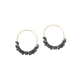 Super Fine Hoop Earrings in Oxidized Silver & 18k Gold