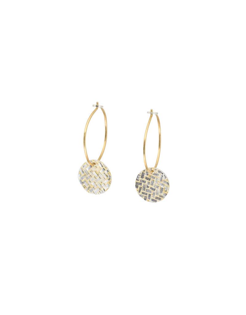 Sugar Brick Disk Hoop Earrings in Silver & 18k Yellow Gold