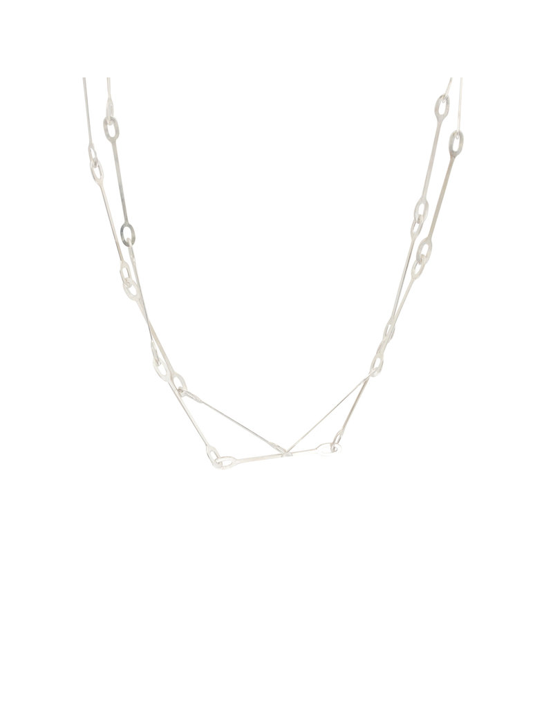 Long Oval Link Necklace in Bright Silver