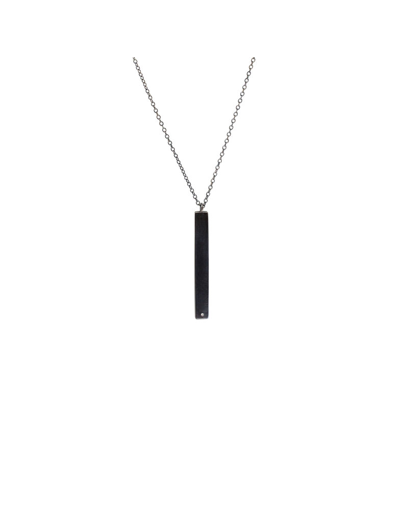 Long Rectangle Necklace with Diamond in Oxidized Silver