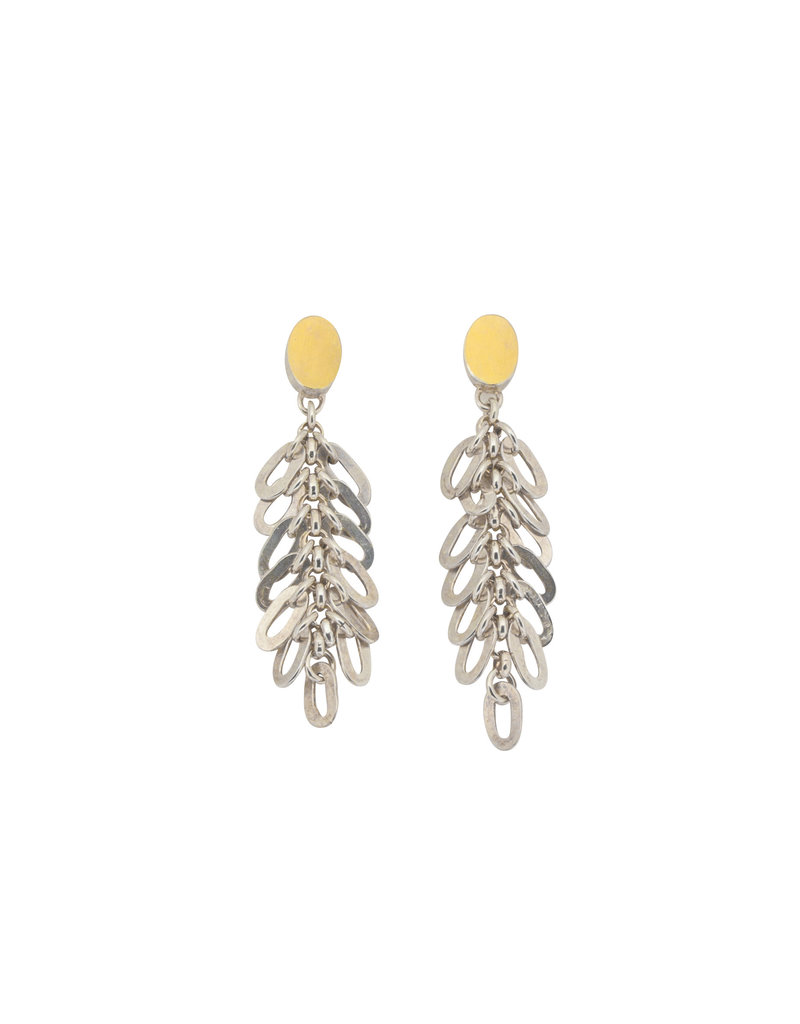 Oval Fringe Post Earrings in Silver with 22k Gold