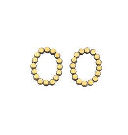 Oval Dot Post Earrings in Oxidized Silver & 22k Yellow Gold