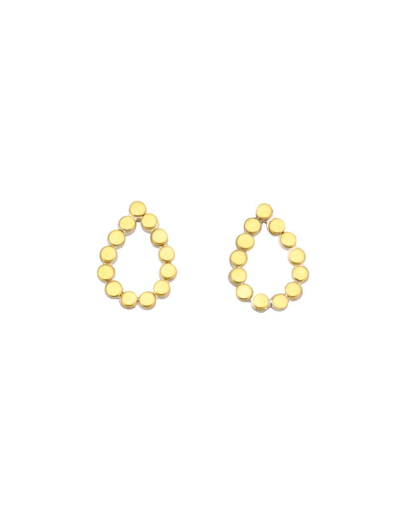 Teardrop Dot Post Earrings in Silver & 22k Gold