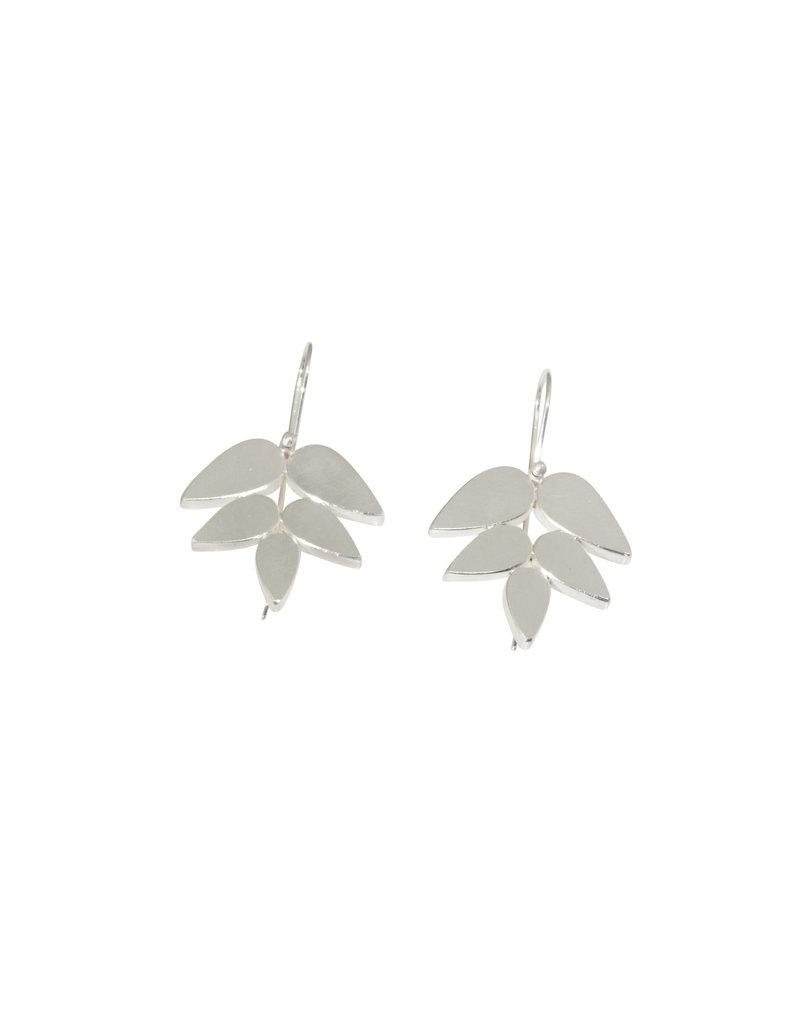 Leaf Earrings in Bright Silver