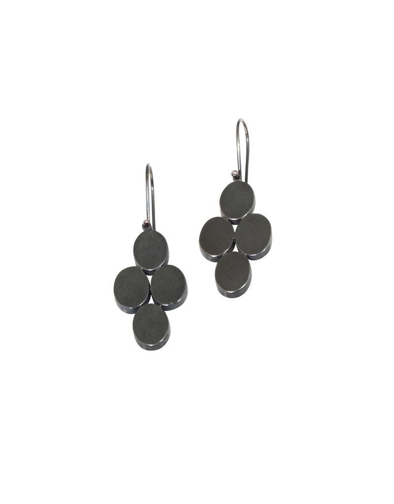 Four Oval Earrings in Oxidized Silver