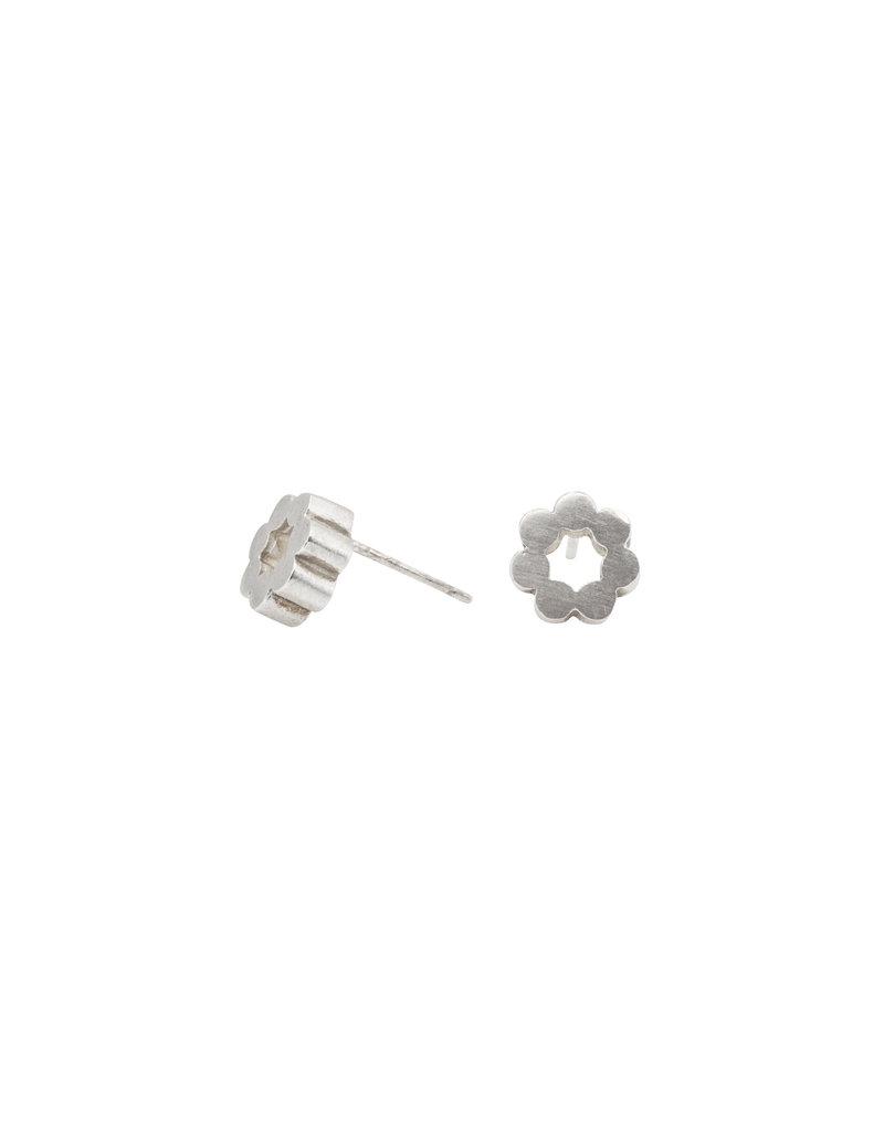 Circle Post Earrings in Silver