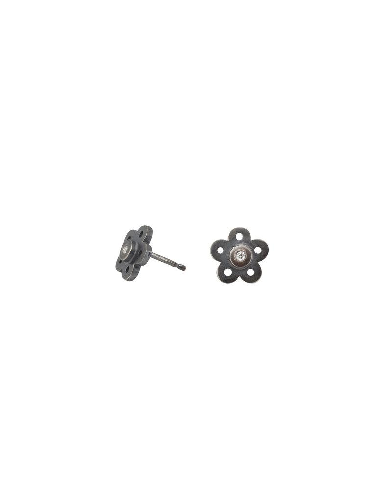 Flower Diamond Post Earrings in Oxidized Silver