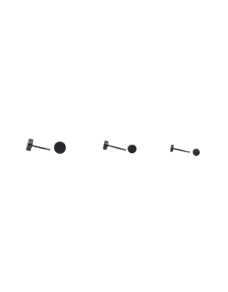 Large Dot Post Earrings in Oxidized Silver