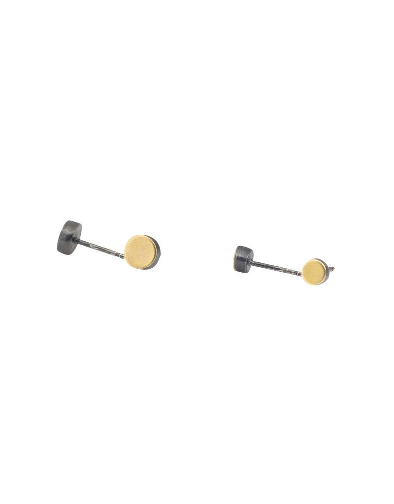 Medium Dot Post Earrings in 22k Gold & Oxidized Silver