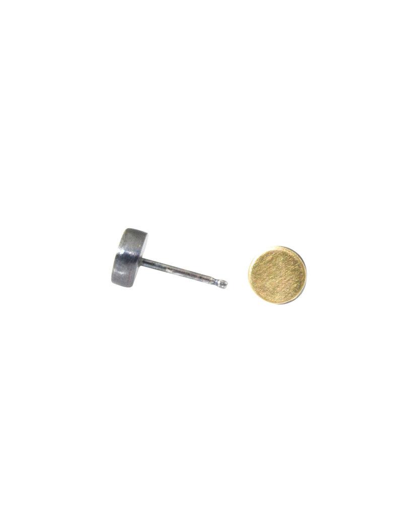 Large Dot Post Earrings in 22k Gold & Oxidized Silver