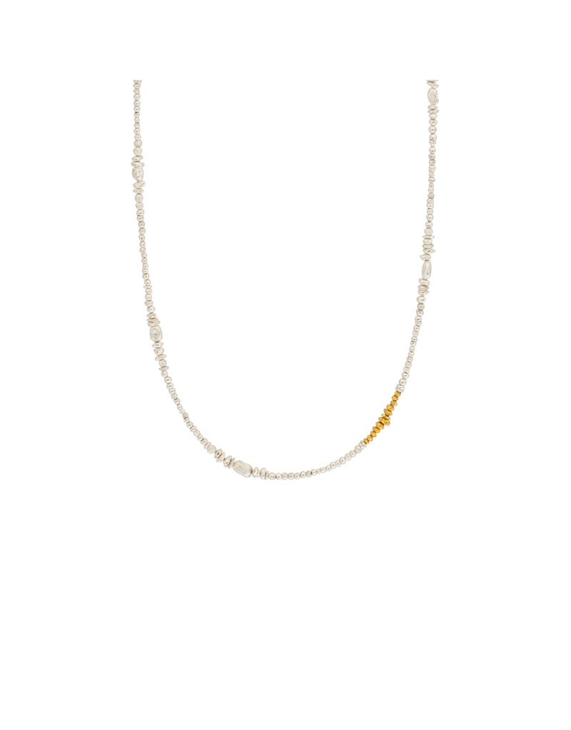 Seed Necklace in Silver with 24k Yellow Gold
