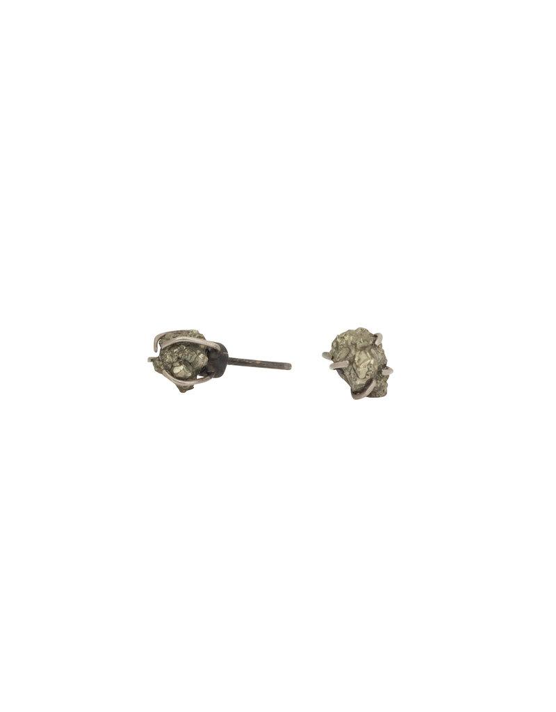 Pyrite Post Earring in Silver